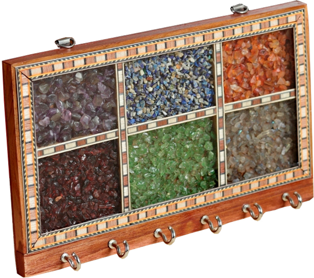 Aapno Rajasthan Precious Stone Framed Wooden Key Holder