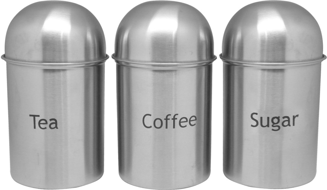 Bhalaria Steel Tea, Coffee and Sugar Jar Set Canisters 1 L