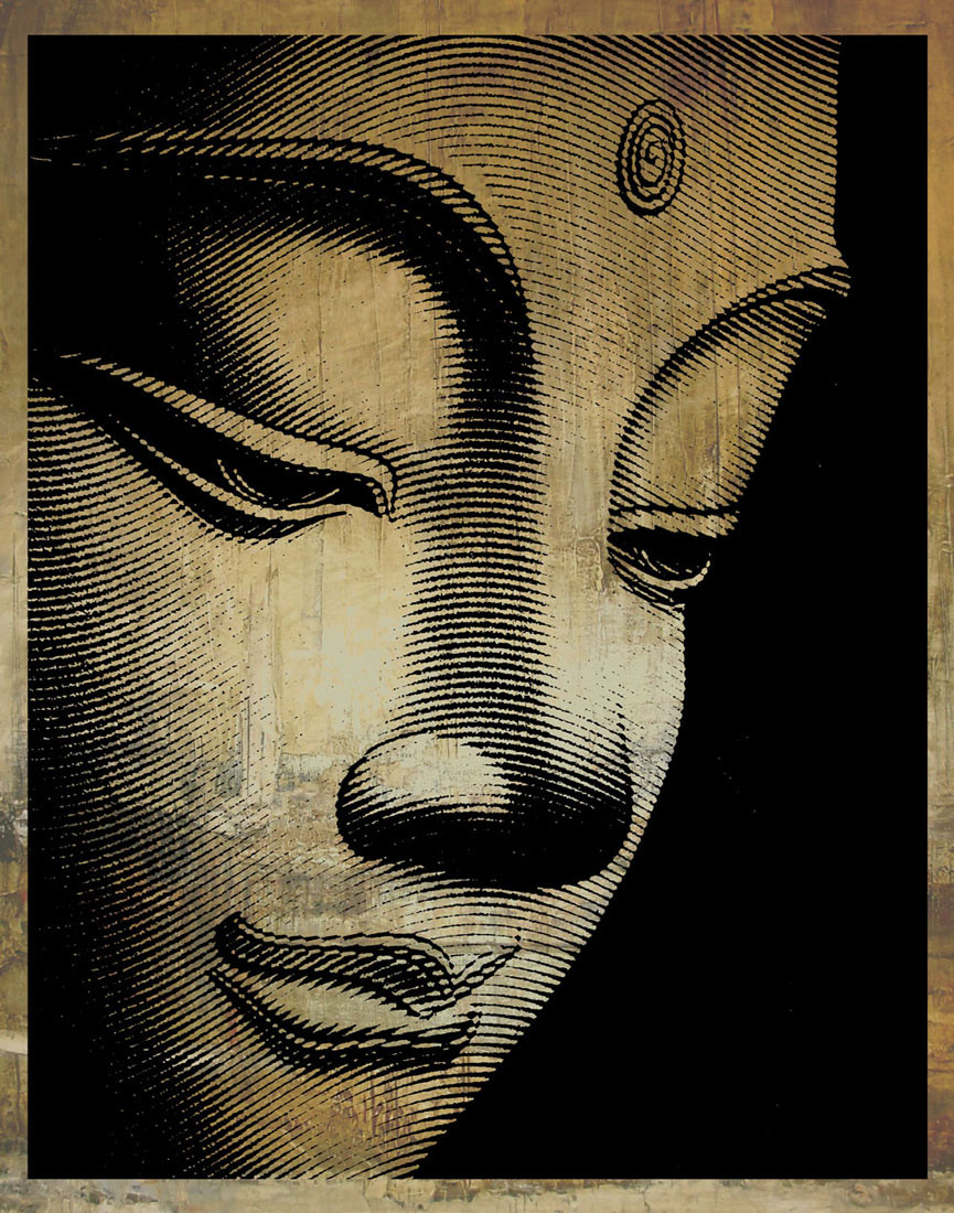 Buddha - Sculpture Face Paper Print