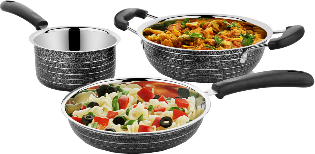 Cookaid Stainless Steel Cookware Set 3Pc Black