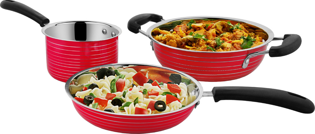 Cookaid Stainless Steel Cookware Set 3Pc Red