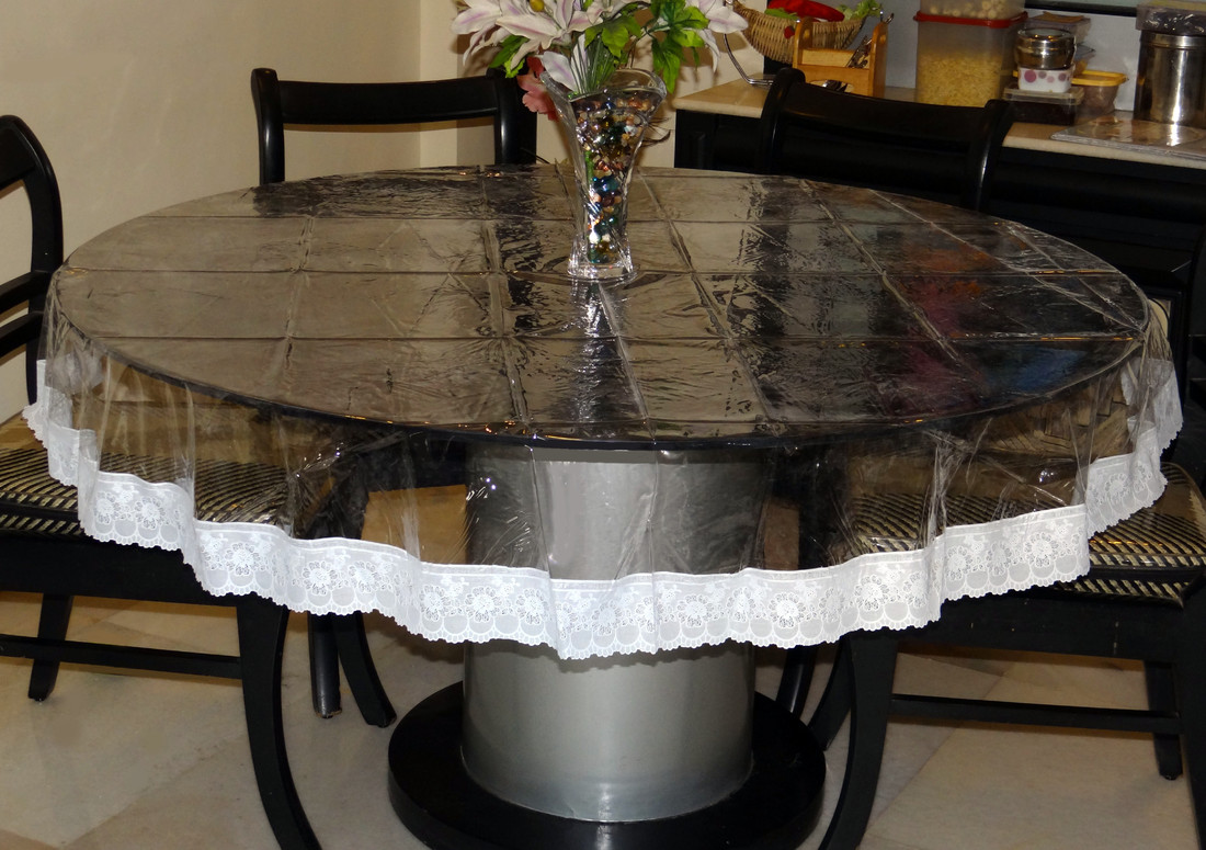 Katwa Clasic Clear Transparent With Lace Border Round Table Cover