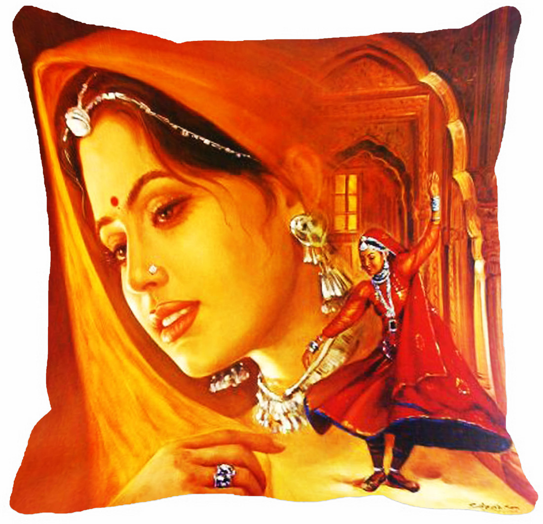 Mesleep Red girl Digitally Printed Cushions Cover