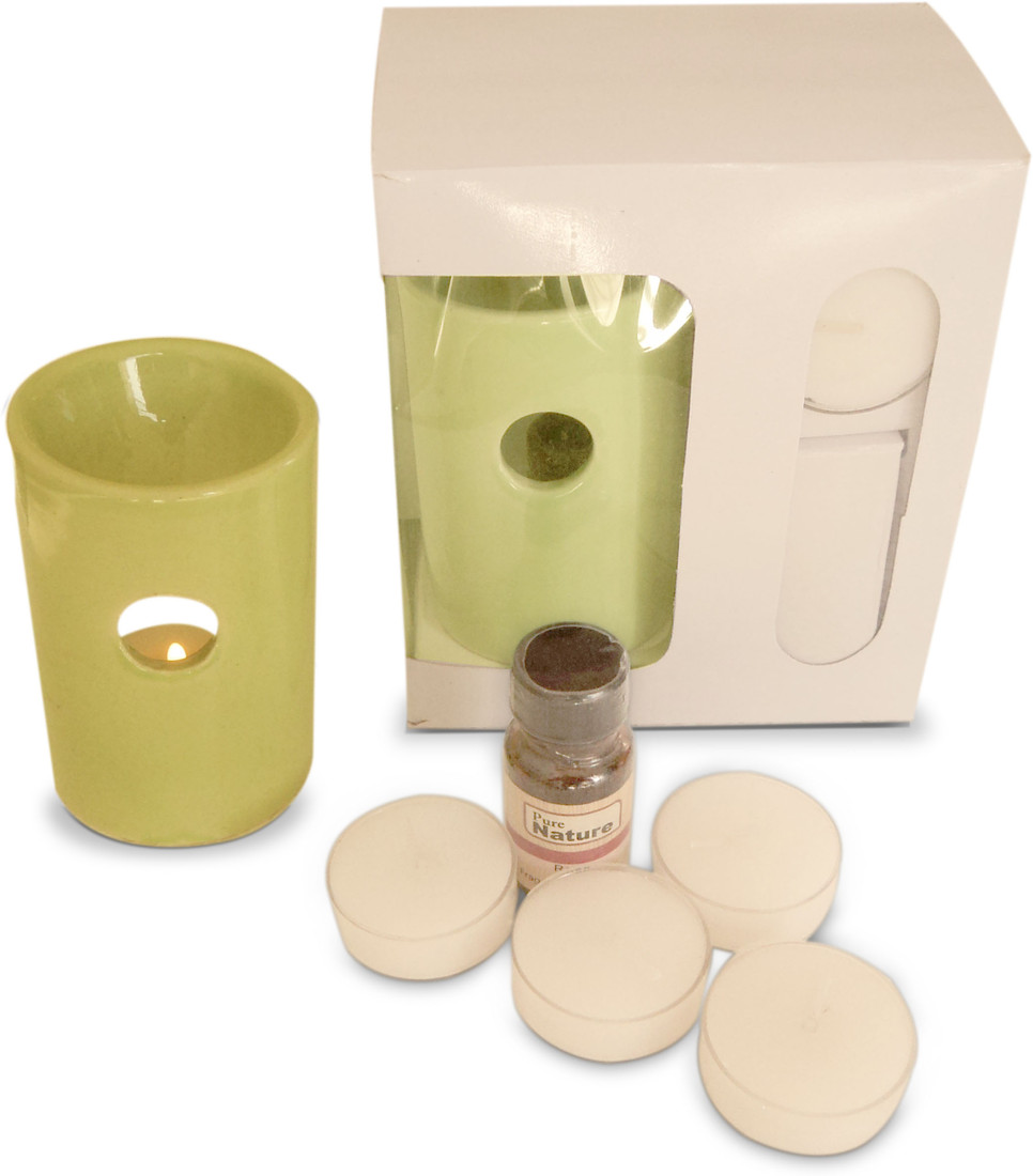 Pure Source Ceramic Aroma Burner with 4 Tea Light Candle Lemon Grass Diffuser Set Air Freshener