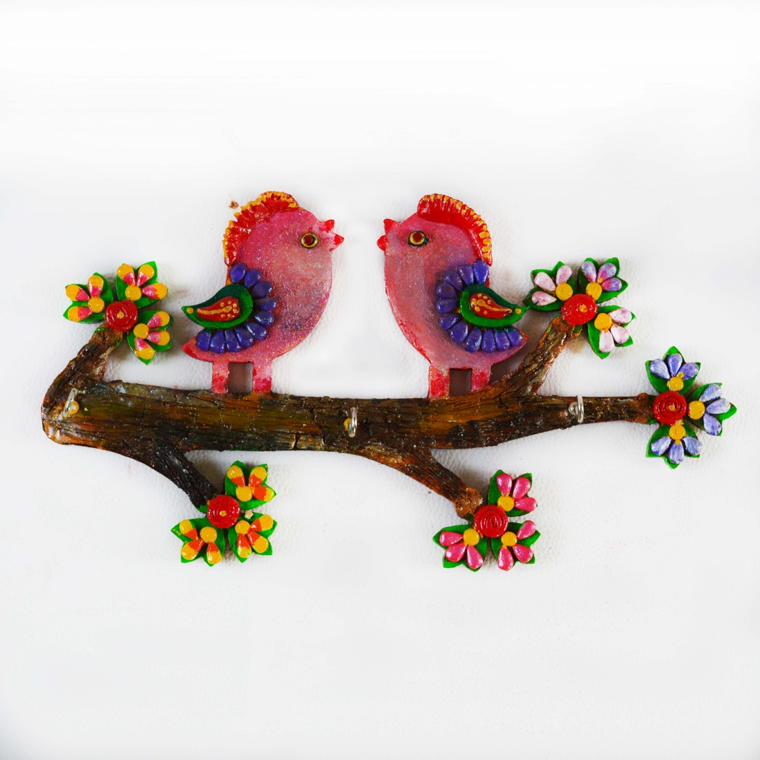 eCraftIndia Colorful Love Birds Ceramic, Wooden Key Holder