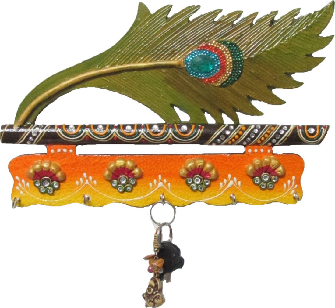eCraftIndia Mor Pankhi Paper Mache Key Holder